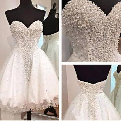 Short Prom Dress,White Prom Dress,S..