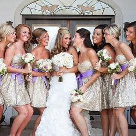 Short Bridesmaid Dress,Sequin Bride..