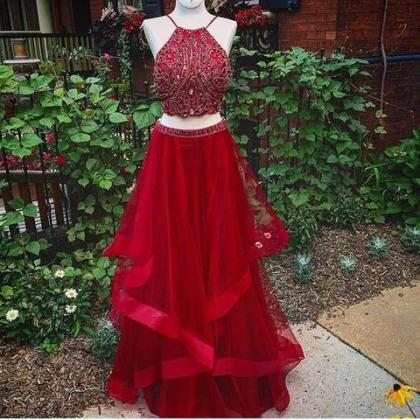 Two Pieces Prom Dresses, Red Organz..