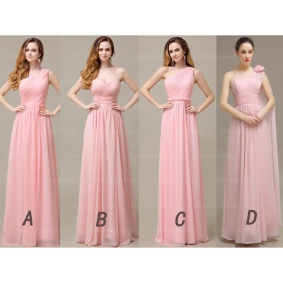 2016 Bridesmaid Dress Long Pink Chiffon Sleeveless Dres On Luulla
