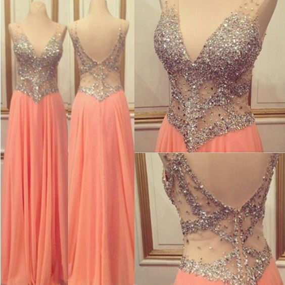 Long Prom Dress,Rhinestone Prom Dress,V-Neck Prom Dress,Sleeveless Prom Dress,2016 Prom Dress,A-line Prom Dress,Prom Dress For Juniors,Sexy Prom Dress,PD0329