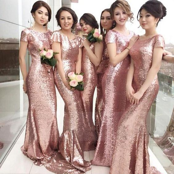 Bridesmaid Dresses Long Sequin Rose Gold