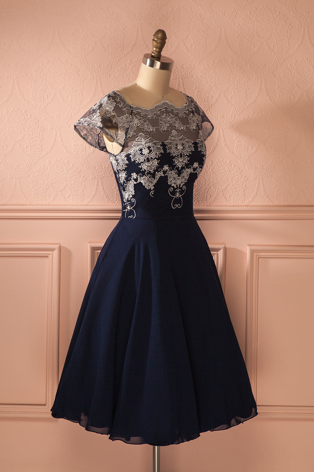 Navy Chiffon Homecoming dresses, Lace Homecoming Dresses, Cap Sleeve Homecoming Dresses, Homecoming Dresses, Juniors Homecoming Dresses, Cheap Homecoming Dresses, PD0739