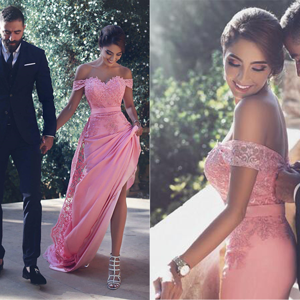 Off Shoulder Hot Pink Lace Prom Dresses, Sexy Mermaid Zip Up Prom ...