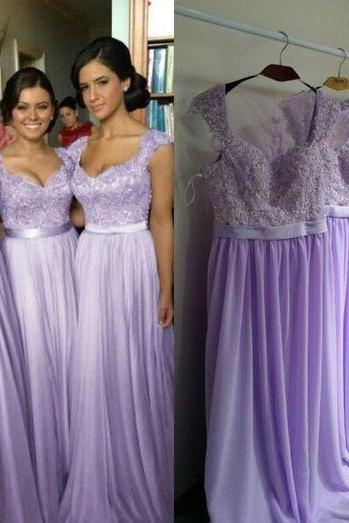 Long bridesmaid dress, chiffon bridesmaid dress, lilac bridesmaid dress, cheap bridesmaid dress, junior bridesmaid dress, free custom bridesmaid dress, PD002