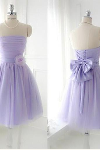 Custom Made Short Strapless Bridesmaid Dress,Tulle Cute Bridesmaid Dress With Handmade Flowers, PD0038
