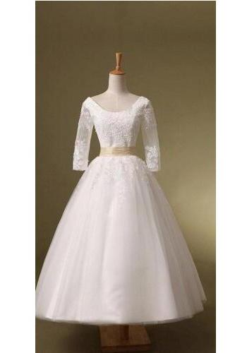 Custom Made Classic A -Line White Wedding Dress,Tulle Wedding Dress With Appliques, Beautiful Wedding Dress,PD0044