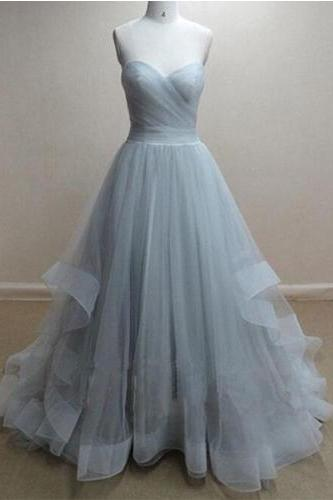 Custom Made Sweetheart Sleeveless Prom Dress,Light Grey Organza Prom Dress,Backless Prom Dress, PD0047