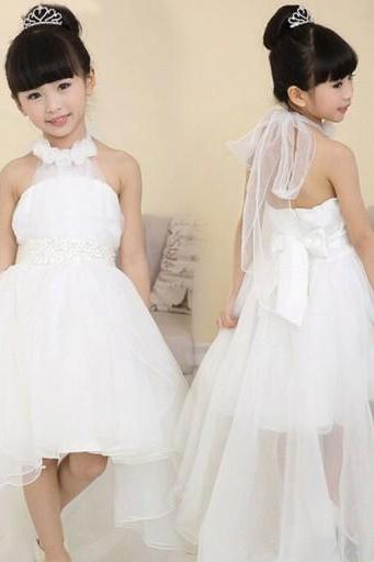 Hi-Low Cute Flowers Girl Dress,High Neck Flower Girl Dress With Handmade Flowers,White Tulle Flower Girl Dress,PD0104