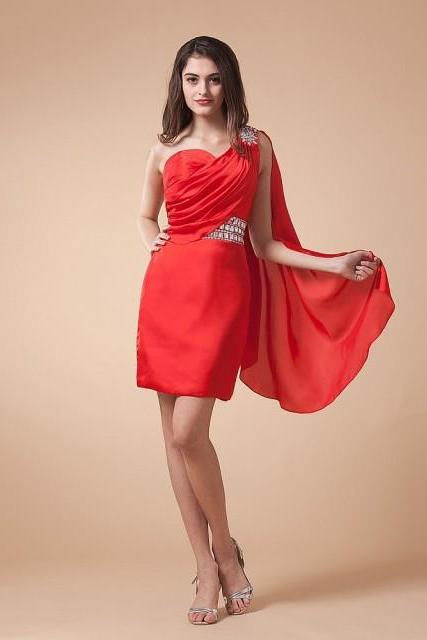 Short Chic Style Prom Dress,Red Prom Dress,Sleeveless Prom Dress,Backless Prom Dress,Prom Dress With Beading,PD0118