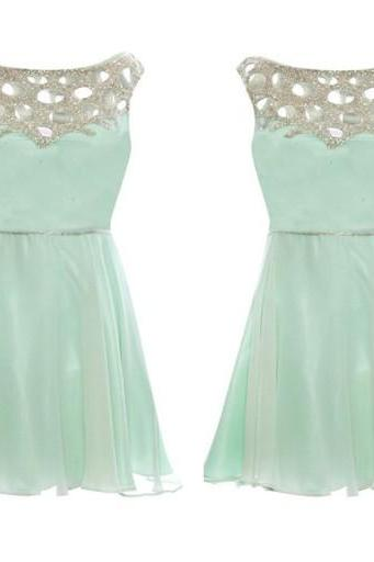 Mini Simple Design Prom Dress,Chiffon Prom Dress,Sleeveless Prom Dress,Mint Green Prom Dress, Prom Dress With Beading,PD0119