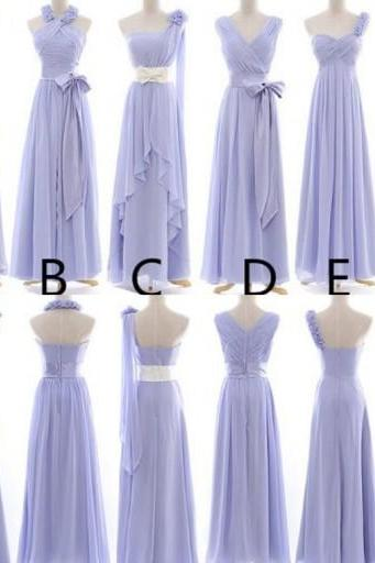 Long Bridesmaid Dress,Chiffon Bridesmaid Dress,Custom Made Bridesmaid Dress,Bridesmaid Dress With Handmade Flowers,PD0130