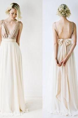 Beaded Embellished Plunge V Sleeveless Floor Length Chiffon A-Line Bridesmaid Dress Featuring Bow Accent Open Back