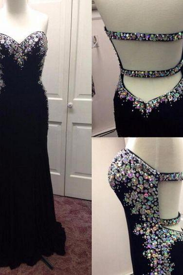 Long Prom Dress,Black Prom Dress,Sweetheart Prom Dress,Bead Prom Dress,Sleeveless Prom Dress,Elegant Prom Dress, PD0264