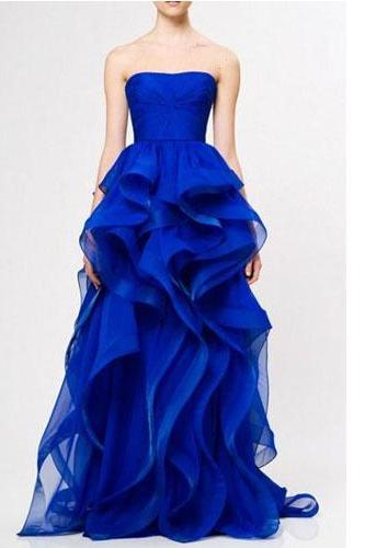 Long Prom Dress,Strapless Prom Dress,Organza Prom Dress,Sleeveless Prom Dress,Dark Blue Prom Dress,Beautiful Prom Dress, PD0266