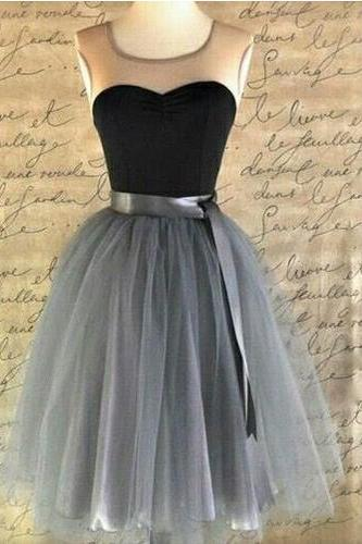 Knee Length Prom Dress,Illusion Neckline Prom Dress,Sleeveless Prom Dress,Tulle Prom Dress,Graduation Prom Dress,Evening Prom Dress,PD0303