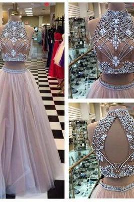 Long Prom Dress,Two Piece High Neck Prom Dress,Rhinestone Prom Dress,Open Back Prom Dress,Tulle Prom Dress,Sleeveless Prom Dress,PD0348