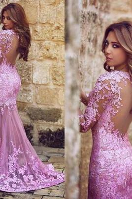Lace Prom Dress,Long Prom Dress,Long Sleeve Prom Dress,Mermaid Prom Dress,Sexy Prom Dress,Evening Dress,Popular Prom Dress,PD0349