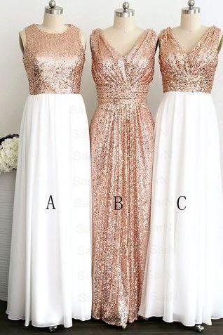 Custom Made Gold Sequin A-Line Mismatched Bridesmaid Dresses