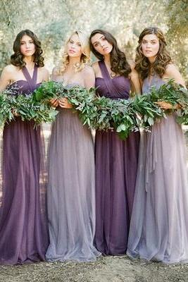 Custom Made Purple Tulle Convertible Long Bridesmaid Dress, Mismatched Bridesmaid Dress