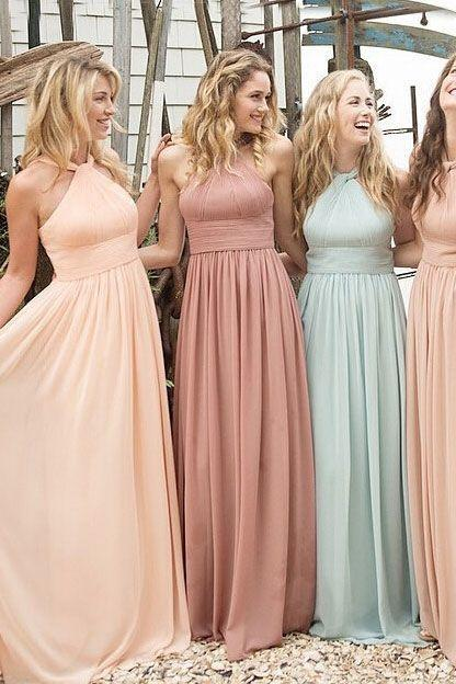 Long Bridesmaid Dress,Halter Bridesmaid Dress,A-Line Chiffon Bridesmaid Dress,Elegant Bridesmaid Dress,Cheap Bridesmaid Dress,Popular Bridesmaid Dress,PD0371