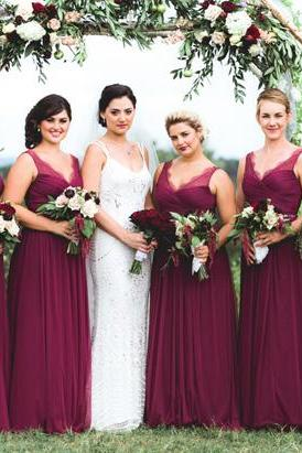 Long Bridesmaid Dress,V-Neck Bridesmaid Dress,Wine Red Bridesmaid Dress,Chiffon Bridesmaid Dress,Cheap Bridesmaid Dress,PD0412