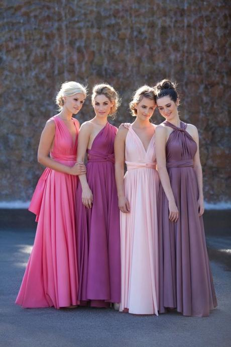 Custom Made Chiffon Floor Length Mismatched Bridesmaid Dress, Convertible Evening Dress