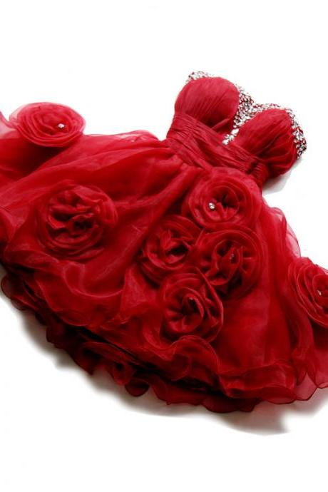 Homecoming Dresses,Red Homecoming Dresses,Homecoming Dressed With Handmade Flowers,Cheap Homecoming Dress,PD0435