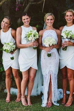 Bridesmaid Dress,White Bridesmaid Dresses,Custom Made Bridesmaid Dress,Cheap Bridesmaid Dress,Popular Bridesmaid Dress,PD0454