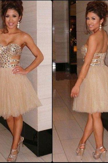 Homecoming Dresses,Tulle Homecoming Dresses,Rhinestone Homecoming Dresses,Sweetheart Homecoming Dresses,Sexy Homecoming Dresses,Juniors Homecoming Dresses,PD0525