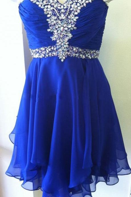 Homecoming Dresses,Rhinestone Homecoming Dresses,Navy Blue Homecoming Dresses,Sweetheart Homecoming Dresses,Chiffon Homecoming Dresses,Cheap Homecoming Dresses,Juniors Homecoming Dresses,PD0530