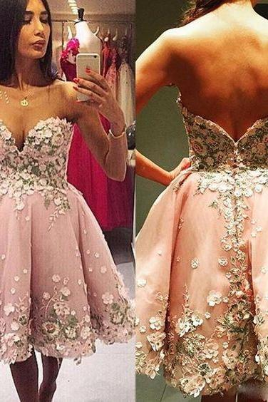Homecoming Dresses,Sweetheart Homecoming Dresses,Organza Homecoming Dresses,Homecoming Dresses With Appliques,Stunning Homecoming Dresses,Cheap Homecoming Dresses,PD0542