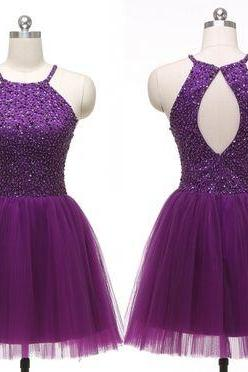 Homecoming Dresses,Sequin Homecoming Dresses,Purple Homecoming Dresses,Tulle Homecoming Dresses,Open Back Homecoming Dresses,Cheap Homecoming Dresses,Juniors Homecoming Dresses,PD0575