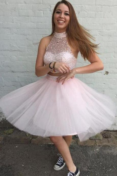 Homecoming Dresses,High Neck Homecoming Dresses,Tulle Homecoming Dresses,Two Pieces Homecoming Dresses,Cute Homecoming Dresses,Cheap Homecoming Dresses,PD0579
