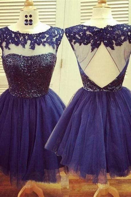 Navy Lace Homecoming Dresses,Round Neck Homecoming Dresses,Tulle Homecoming Dresses, Homecoming Dresses, Dresses For Prom,Short Prom Dresses, Cheap Homecoming Dresses, Juniors Homecoming Dresses,PD0607