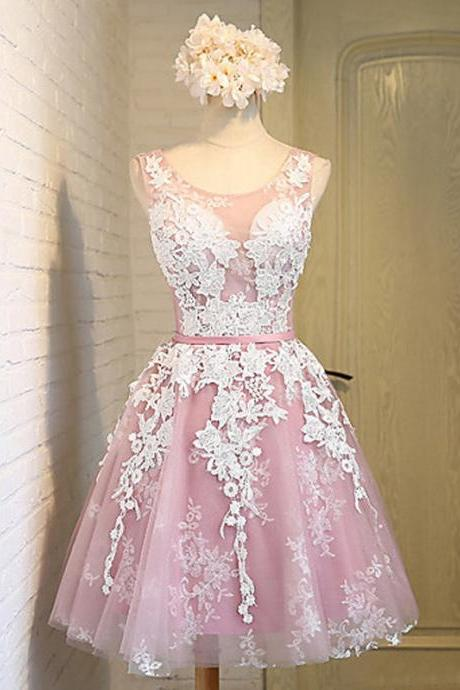 Pink Homecoming Dresses With White Lace, Round Neck Homecoming Dresses, Organza Homecoming Dresses, Lace UP Homecoming Dresses, Homecoming Dresses, Juniors Homecoming Dresses, Cheap Homecoming Dresses, PD0645