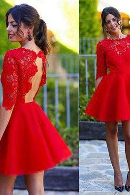 Red Lace Homecoming Dresses, Open Back Homecoming Dresses, Half Sleeve Homecoming Dresses, Organza Homecoming Dresses, Homecoming Dresses, Juniors Homecoming Dresses, Cheap Homecoming Dresses, PD0682