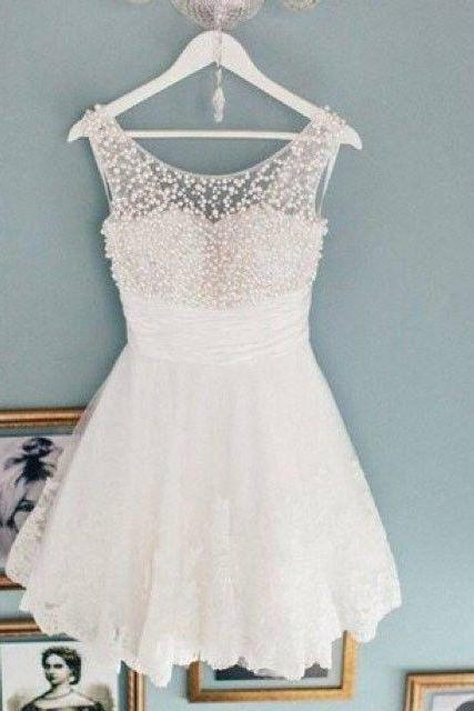 White Beaded Homecoming Dresses, Lace Homecoming Dresses, Illusion Homecoming Dresses, Homecoming Dresses, Juniors Homecoming Dresses, Cheap Homecoming Dresses, PD0688