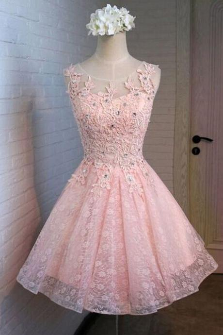 Pink Lace Homecoming Dresses, A-Line Homecoming Dresses, Cute Homecoming Dresses, Homecoming Dresses, Juniors Homecoming Dresses, Cheap Homecoming Dresses, PD0716