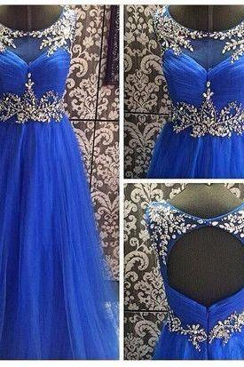 Royal Blue Rhinestone Prom Dresses, A-line Prom Dresses, Open Back Prom Dresses, Prom Dresses, Cheap prom dresses, Popular prom dresses, Juniors prom dresses, PD0763
