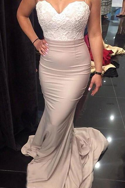 Custom Made White and Pink Sweetheart Neckline Long Mermaid Bridesmaid Dress with Button Back Detailing and Lace Train