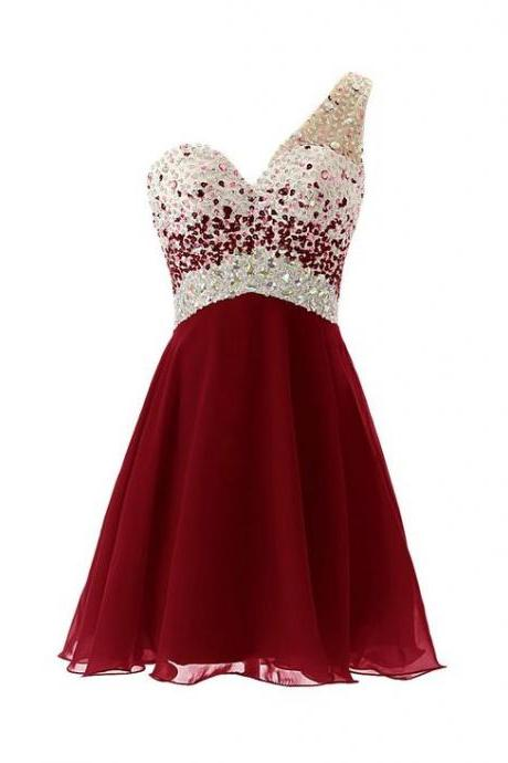 One Shoulder Rhinestone Homecoming Dresses, Red Chiffon Homecoming Dresses, Sexy Homecoming Dresses, Graduation Dresses, Charming Homecoming Dresses, Cheap Homecoming Dresses, Popular Homecoming Dresses, Homecoming Dresses, PD0824