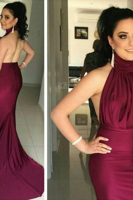 Simple Design High Neck Prom Dresses, Sexy Burgundy Satin Backless Prom Dresses, Mermaid Prom Dresses, Cheap prom dresses, Popular prom dresses, Juniors prom dresses, Prom Dresses, PD0861