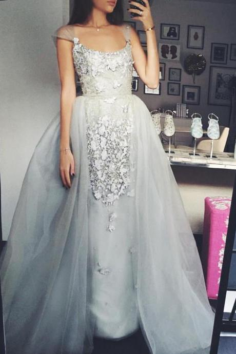 Gorgeous Round Neck Silver Prom Dresses, Appliques Organza Prom Dresses, Cheap prom dresses, Popular prom dresses, Juniors prom dresses, Prom Dresses, PD0871