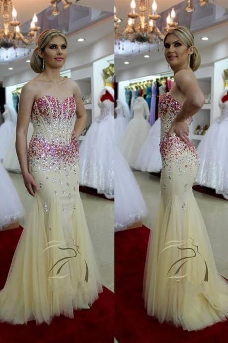 Sweetheart Beige Tulle Prom Dresses, Rhinestone Beaded Prom Dresses, Mermaid Prom Dresses, Popular Prom Dresses, Cheap Prom Dresses, 2017 Prom Dresses, Prom Dresses, PD0948