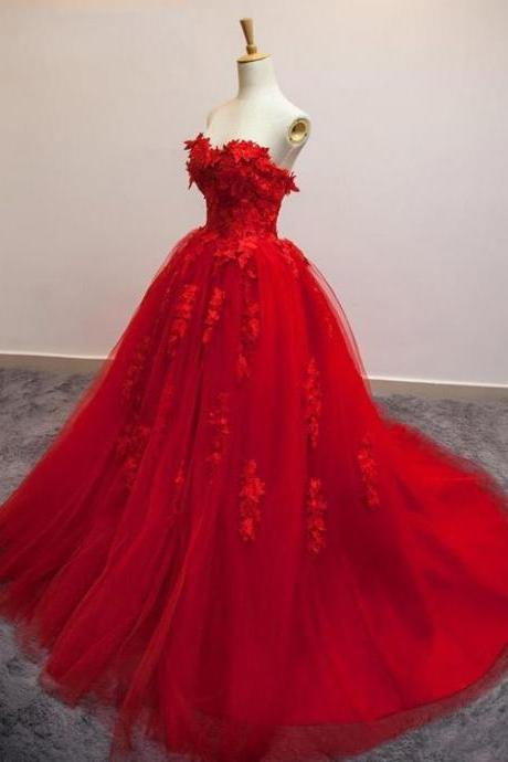 Sweetheart Red Appliques Tulle Prom Dresses, Gorgeous Ball Gown, Dresses for prom, Popular Prom Dresses, Cheap Prom Dresses, 2017 Prom Dresses, Prom Dresses, PD0951