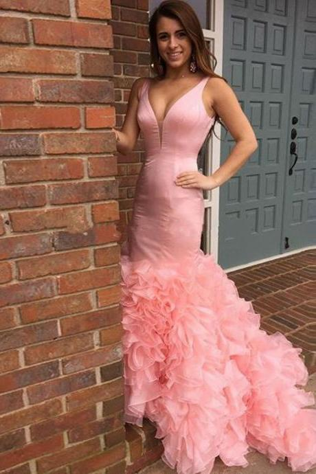 Pink Satin Prom Dresses, V-neck Prom Dresses, Mermaid Prom Dresses, Dresses for prom, Popular Prom Dresses, Cheap Prom Dresses, 2017 Prom Dresses, Prom Dresses, PD0952
