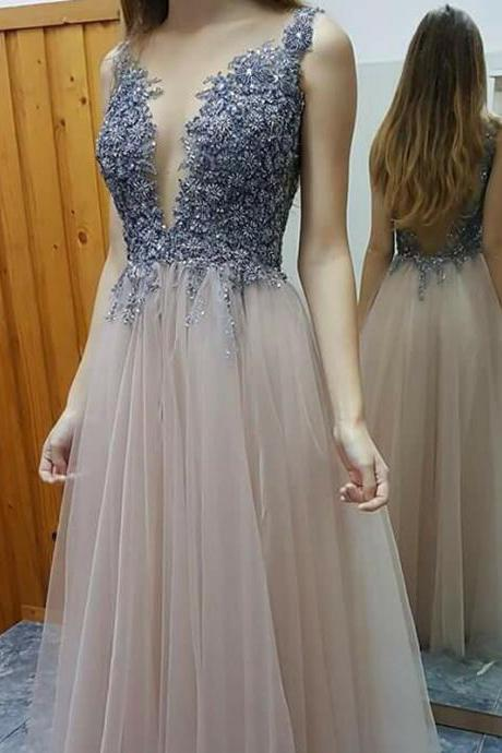 V-neck Appliques Beaded Prom Dresses, Backless Long A-line Tulle Prom Dresses, Popular Prom Dresses, Cheap Prom Dresses, 2017 Prom Dresses, Prom Dresses, PD0954