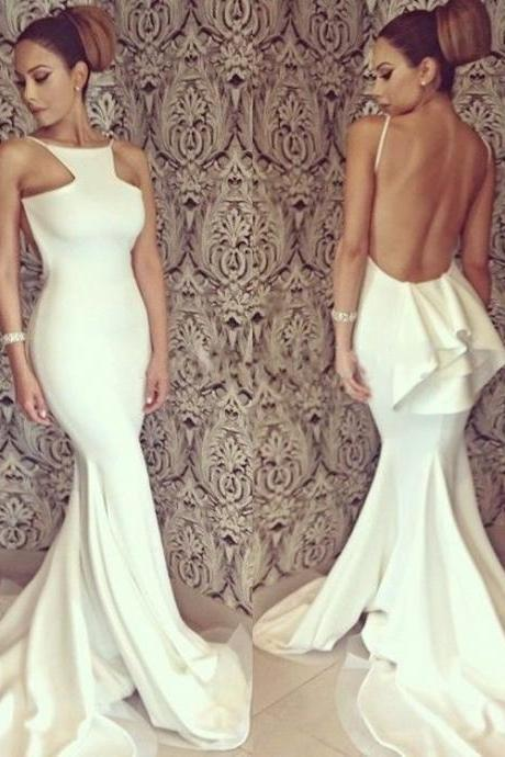 Unique Design Backless Prom Dresses, White Mermaid Prom Dresses, Newest Prom Dresses, Popular Prom Dresses, Cheap Prom Dresses, 2017 Prom Dresses, Prom Dresses, PD0956