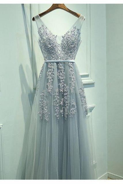 V-neck Tulle Lace Prom Dresses, New Arrival Prom Dresses, See Through Prom Dresses, Bridesmaid Dresses, Cheap Prom Dresses, Popular Prom Dresses, Prom Dresses, Long Prom Dresses, PD0966